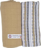 Lodger Hydrofiele doeken Swaddler Print/Solid Okergeel/Stripe - 2 stuks