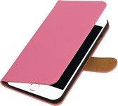 Roze Effen booktype wallet cover hoesje voor Apple iPhone 7 Plus