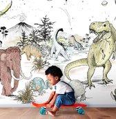 Behang Prehistoric - 530w x 300h cm - Vliesbehang Dinosaurus kinderbehang