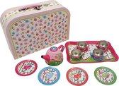 Playwood - Blikken serviesje vogeltjes in koffer - speelgoed theeservies van tin servies
