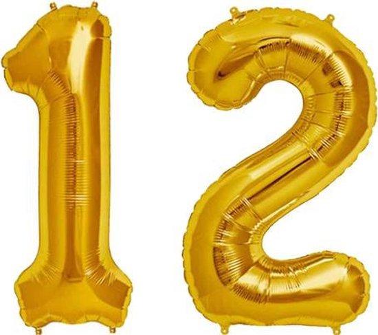 Cijfer 12 Goud Helium 86 cm Excl. Helium