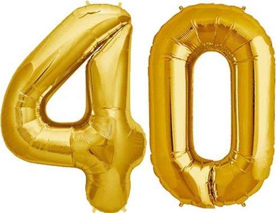 Cijfer 40 Goud Helium 86 cm Excl. Helium