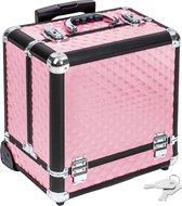 Cosmeticakoffer aluminium Beautycase roze 401444