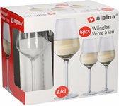 12x Goedkope wijnglazen set voor witte wijn 370 ml