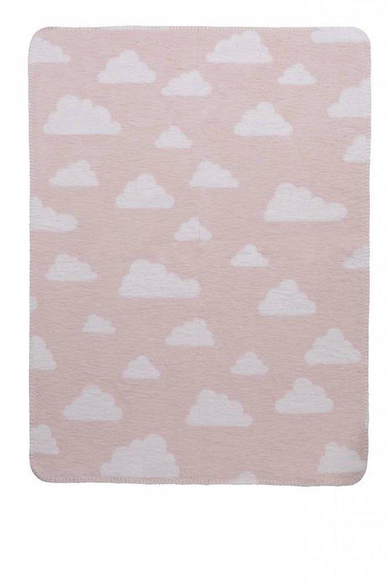 Meyco Modern Little Clouds-  Wiegdekentje 75x100cm - Lichtroze