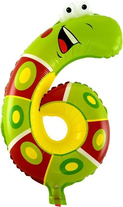Folie helium ballon cijfer 6 dieren 41cm