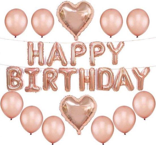 Ballonnen decoratieset Happy Birthday – sweet 16 – Latex ballonnen – folie ballonnen – feest versiering – verjaardag versiering – rose balonnen – feestpakket – moederdag – valentijn versiering – partij balonnen