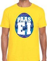 Geel Paas t-shirt met blauw paasei - Pasen shirt voor heren - Pasen kleding 2XL