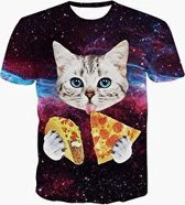 Pizza en taco kat festival shirt Maat L Crew neck