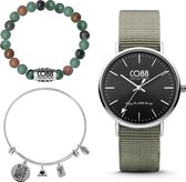 CO88 Collection Gift Set 8CB 99066 Horloge Geschenkset - Nato Band - Ø 36 mm - Groen / Zilverkleurig
