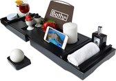 Bathr Luxe Bamboe Badplank Voor In Bad - Badrek Met Boeksteun / Tablethouder En Wijnglashouder - Bad Rek - Verstelbaar - 75 tot 110 cm - Hout - Zwart
