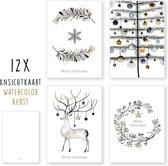 Kerstkaarten - kaartenset - ansichtkaarten - Kerst Watercolor - 12 stuks - wenskaarten - Kimago