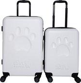 Princess Traveller Toby Black Big Paw kofferset 66cm - Wit