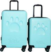 Princess Traveller Toby Black Big Paw kofferset 66 cm - Baby blauw