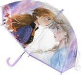 Disney Frozen 2 paraplu lila/transparant voor meisjes 71 cm - Frozen II - Doorzichtige kinderparaplu - Regenkleding/regenaccessoires