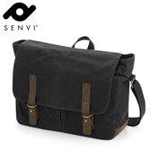 Senvi - Waxed Canvas Messenger Bag - Zwart