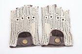 Laimböck espresso crochet - leren vingerloze autohandschoenen | maat 7.5