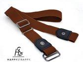 HappyStrappy.® originele Elastische riem Bruin   Riem zonder gesp   Stretch riem   Dames   Heren