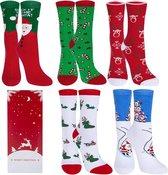 Kerstsokken Giftbox - Set van 5 paar - Kerstcadeau Warme sokken - Variant 1