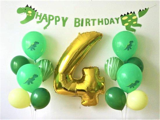 Dino party met cijferballon 100 cm 4 jaar | dinosaurus party ballonnen | cijfer nummer ballon