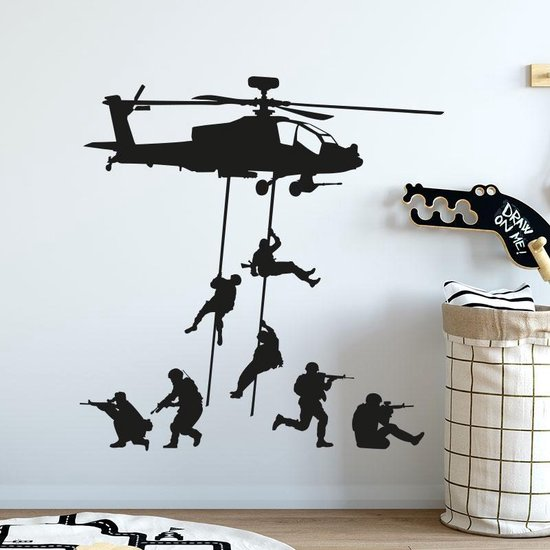 Muursticker leger helikopter met soldaten