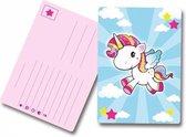 8x Uitnodigingskaartjes met eenhoorn print voor uw kinderfeestje.