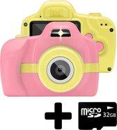 Kindercamera Camera Voor Kinderen Video + 32GB SD kaart - Roze/Geel