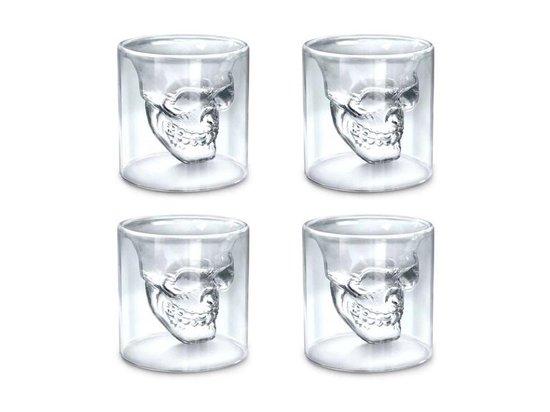 Aretica Shot glaasjes Skull gift set van 4 - Inhoud 25ml - Ø 4.7cm - Schedel shot glaasjes set van 4 - Glazen glaasjes met doodshoofd - Transparant - Borrelglas - Drankspel