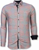 Tony Backer Italiaanse Overhemden - Slim Fit Overhemd - Blouse Line Pattern - Rood Casual overhemden heren Heren Overhemd Maat S