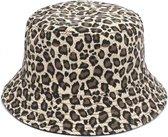 Bucket Hat Reversible Zwart Luipaard Panter print Omkeerbaar Vissershoed
