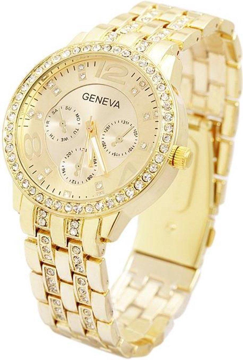 Geneva Dames Horloge - RVS - Goudkleurig & Kristal -   40 mm