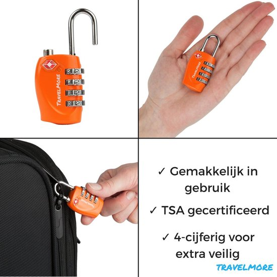 TravelMore TSA Kofferslot 4 Cijferig - Reisslot – Reis Cijferslot – Bagageslotjes – Slot voor Bagage – USA Slotjes - Oranje - 1 Stuk - TravelMore