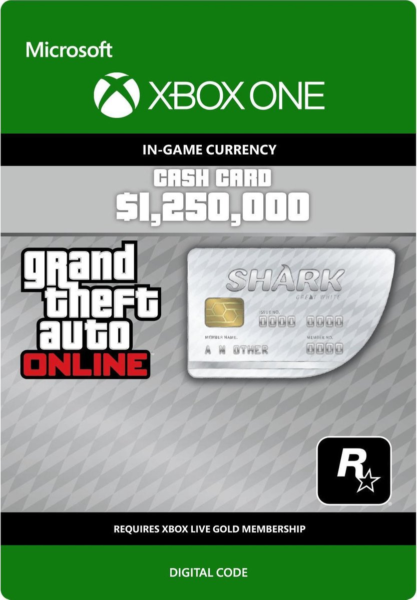 Grand Theft Auto V (GTA 5) - Great White Shark Card: $ 1.250.000 - Xbox One download