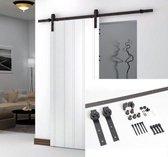 Barnwood schuifdeursysteem- Schuifdeur railsysteem loftdeur  complete set met hangrollen - Ensuite  2 meter  Met een Handleiding