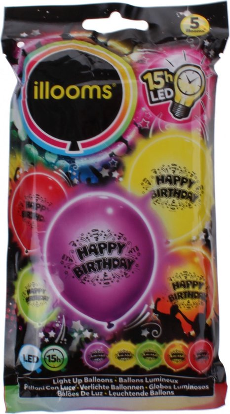 Boland Led-ballon Happy Birthday Latex 5 Stuks