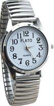 Fako® - Horloge - Rekband - Plato - Ø 32mm - Zilverkleurig - Wit