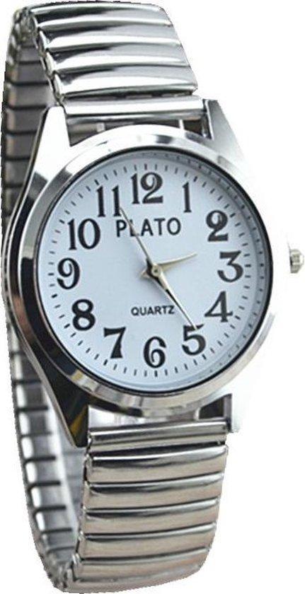 Fako® – Horloge – Rekband – Plato – Ø 32mm – Zilverkleurig – Wit