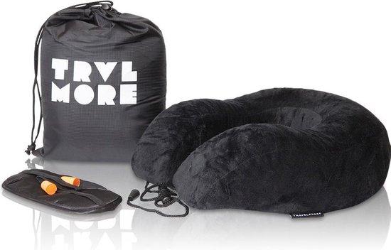 TravelMore Memory Foam Reiskussen Set De Luxe inclusief Oogmasker & Oordopjes – Traagschuim Comfort Nek Kussen - Vliegtuig Kussen - Reiskussentje - Travel Pillow - Neksteun Voor Reis, Vliegtuig of Auto - U-Vorm - Zwart