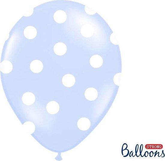 Ballonnen baby blauw met dots 6 stuks
