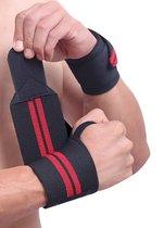 1 Stuk Polsband Rood/ Zwart - Fitness - Crossfit – Bootcamp – Krachttraining – Yoga – Stevigheidsband - Versteviging & Versterking Polsen - Polsbandage Wrist Support Wraps - Handen support - Sporten & Fit