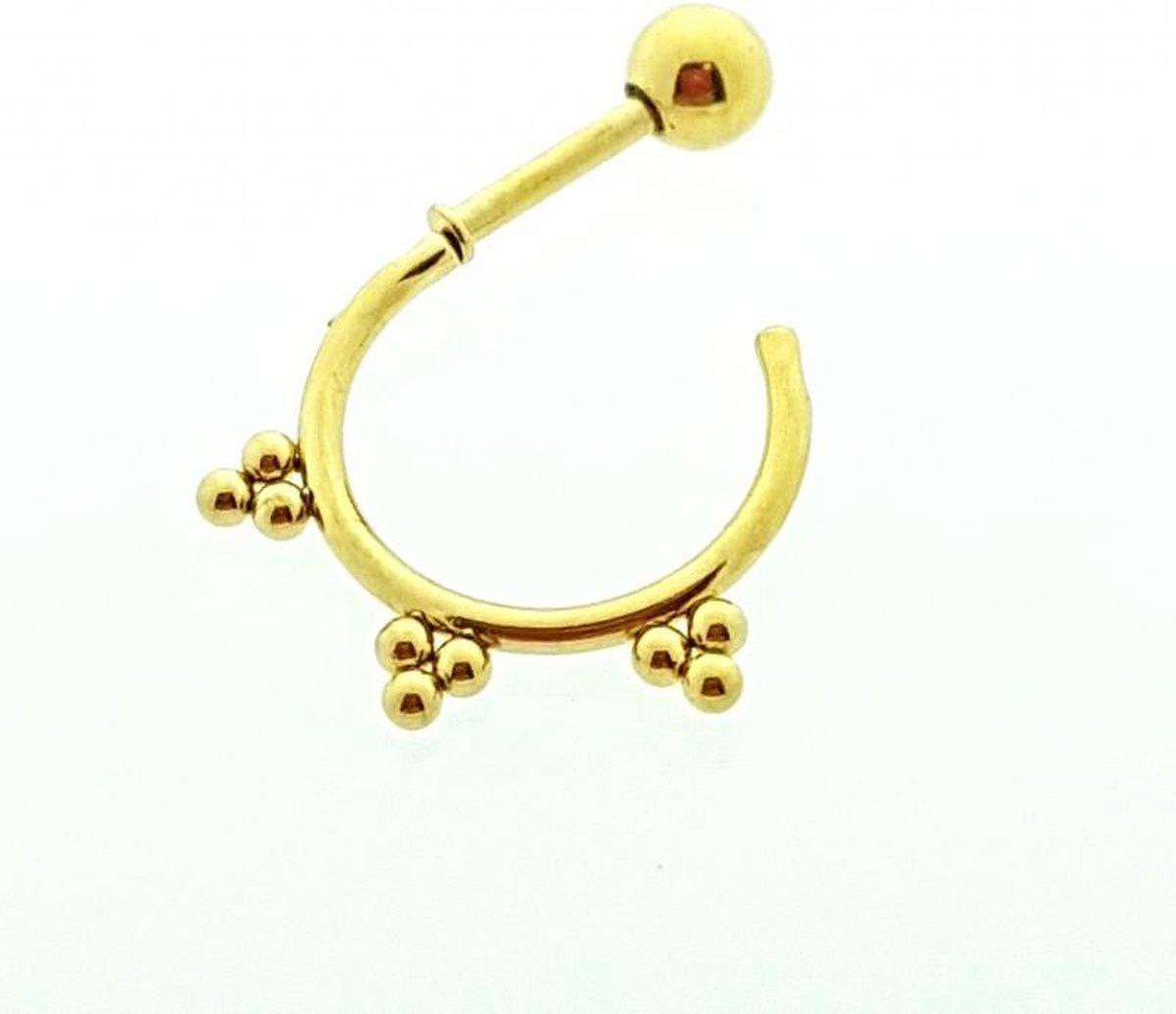 Helixpiercing / tragus piercing goudkleur rond - Aramat Jewels