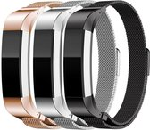3-Pack Set Milanees Horloge Band Voor de Fitbit Alta (HR) - Milanese Watchband Sportbandje - Armband Polsband RVS - Small/Large - Goud/Zilver/Zwart-kleurig