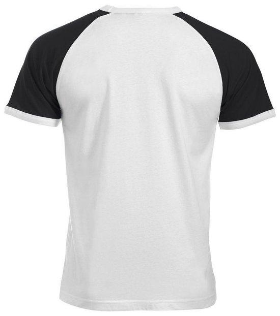 Clique Raglan-T Wit/Zwart maat XL