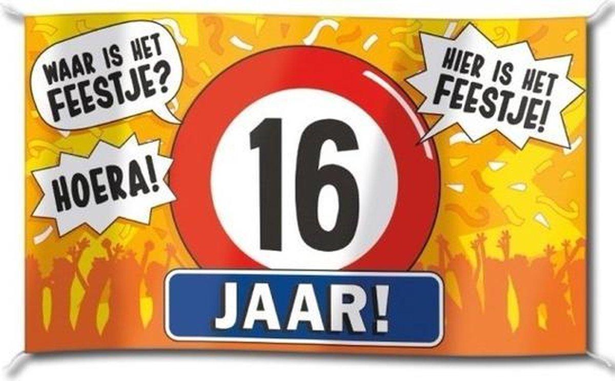 Gevelvlag verjaardag 16 jaar 100 x 150 cm