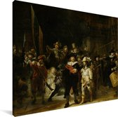De Nachtwacht - Schilderij van Rembrandt van Rijn Canvas 160x120 cm - Foto print op Canvas schilderij (Wanddecoratie woonkamer / slaapkamer) XXL / Groot formaat!