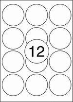Benza Zelfklevende Etiketten op A4 Vel - Rond 63,5 mm - 12 stickers per vel - 25 vel