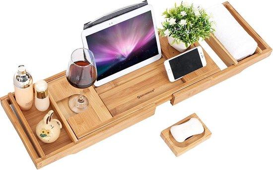 Badrek Bad Tafel Plank - Badplank Rek Verstelbaar - Badbrug Bamboe Hout
