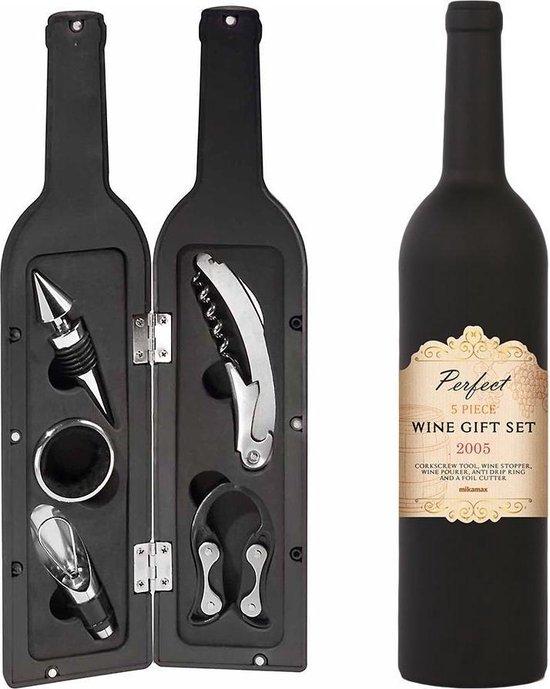 MikaMax Wijn Accessoires - Wijnafsluiter - Wijnfles 5x Wijn Accessoires - Kurkentrekker - Foliesnijder - Cadeau - 750ML