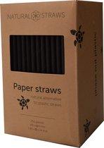 Natural Straws papieren cocktail rietjes - Zwart - Lengte 15cm - 250 stuks - 100% Composteerbaar