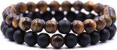 AWEMOZ® Natuursteen Armbanden - Contrast Kralen Armbandjes - Zwart/Bruin - Armband Dames - Armband Heren